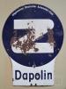 Warnschild Straßenkurven mit DAPOLIN Werbung